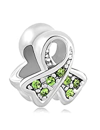 Charmed Craft 925 Sterling Silver Breast Cancer Awareness Jan-Dec Birthstone Ribbon Charm Bead For Charm Bracelets
