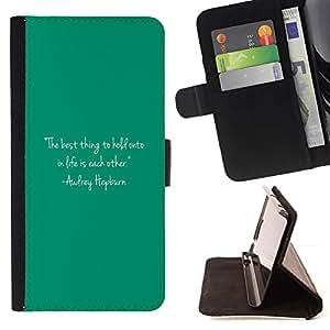 Momo Phone Case / Flip Funda de Cuero Case Cover - Citar Texto Audrey Vida motivación - Apple Iphone 5C