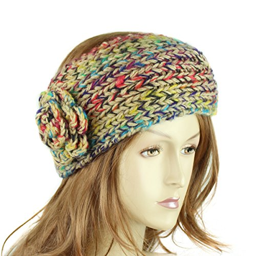 Multicolored Rosette Headband Turban with Button, Beige