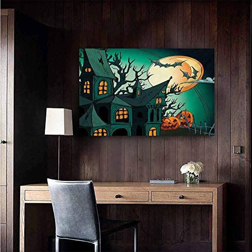 duommhome Halloween Modern Frameless Painting Haunted Medieval Cartoon Style Bats in Twilight Gothic Fiction Spooky Art Print Bedroom Bedside Painting 47