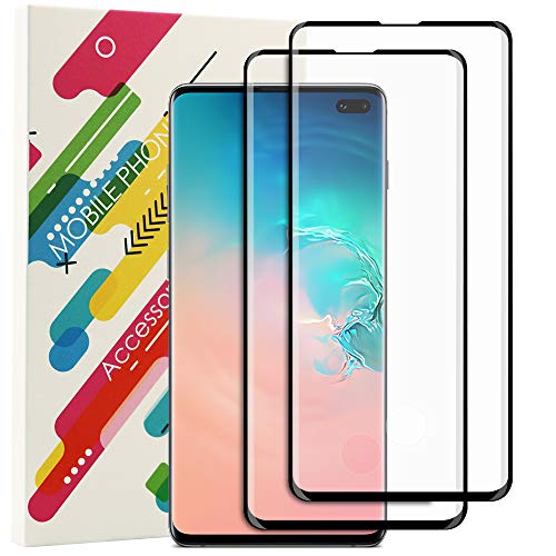 [2 Pack] Samsung Galaxy S10 Plus Screen Protector Support Fingerprint Scanner, Full Coverage 3D Curved Edge HD Clear Film Anti Bubble Easy Install Tempered Glass Screen Protector for Galaxy S10 Plus