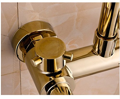 Gowe Gold Finish Bath 8-inch Rain Shower Set Faucet Tub Mixer Tap with Hand Sprayer 3