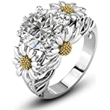 Two Tone Round Cut White Sapphire Daisy Promise Ring 925 Silver Women Jewelry (6)