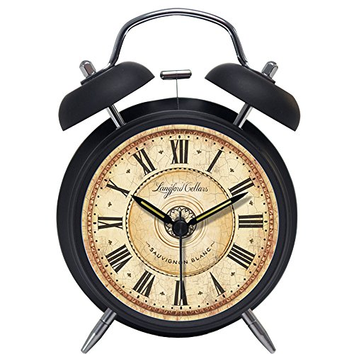Foyou Retro Metal Analog Quartz Silent Twin Bell Alarm Clock with Nightlight and Loud Alarm ( Roman Numerals, Black )