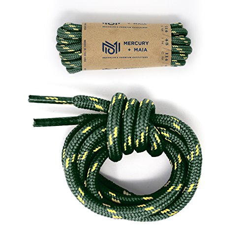 Mercury + Maia Honey Badger Boot Laces W/ Kevlar - USA Made Shoelaces (Green and Natural) (54 inches 1 Pair Pack) (And Lace Honey)