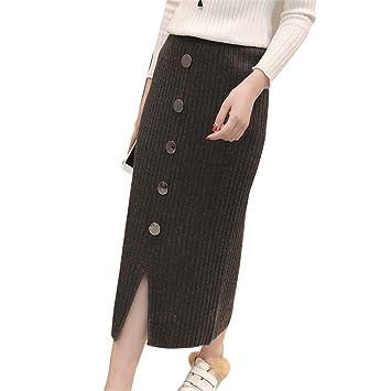LLFUSM Falda de Punto Media de Lana Mujer Otoño Invierno Medio Largo Faldas  largas Faldas 38829c0caff9