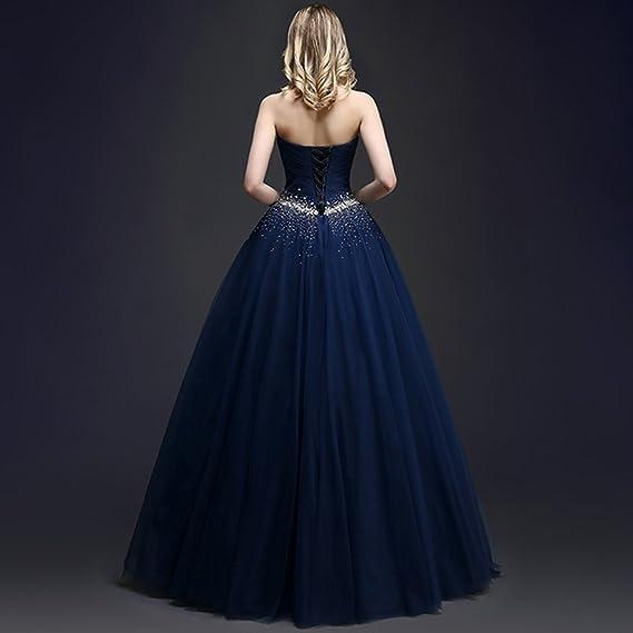nymph Mujer Vestido de Fiesta Longo con Cuentas de Tul Baile Azul 38: Amazon.es: Ropa y accesorios