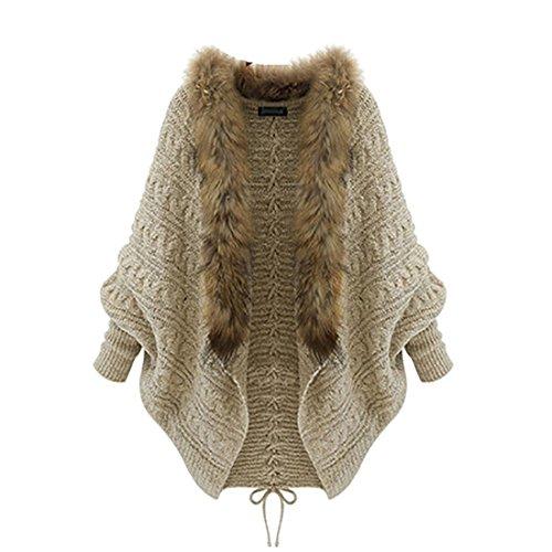 (WANSHIYISHE Women's Faux Fur Collar Knit Batwing Sleeve Cardigan Sweater Coat White OS)