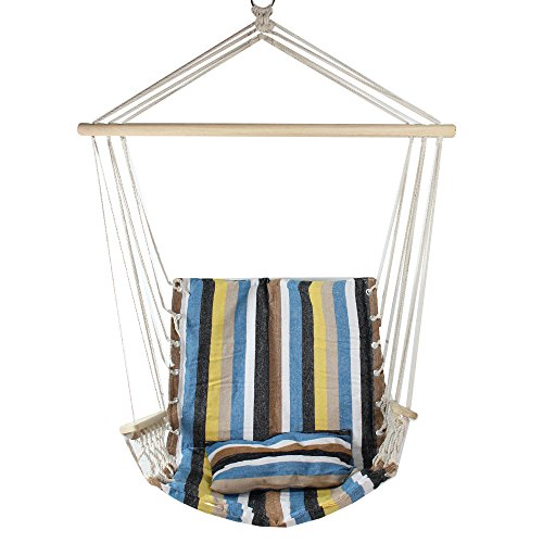Northlight 32756772 21'' x 37'' Blue Brown and Yellow Striped Hammock Chair with Pillow and Armrests, Pink by Northlight