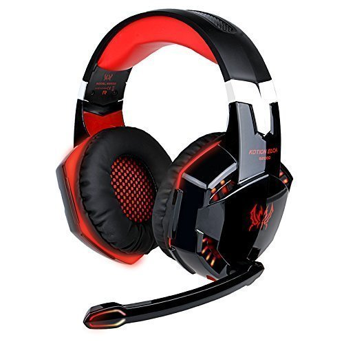EasySMX ZJB-Headset02-Red Comfortable LED 3.5mm Stereo Gaming LED Lighting...