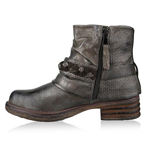Boots Grau Metallic Flandell Stiefeletten Stiefelparadies Biker Damen 0q7x8wtR1
