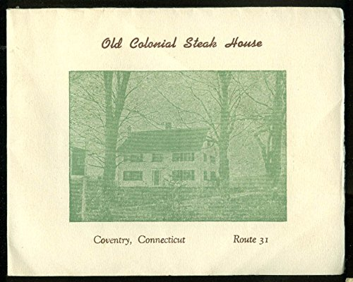 Old Colonial Steak House Coventry CT season opening invitation 1947