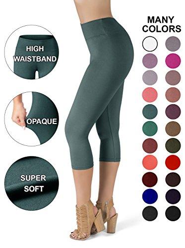 SATINA High Waisted Super Soft Capri Leggings - 20 Colors - Reg & Plus Size (One Size, Sea Foam) ()