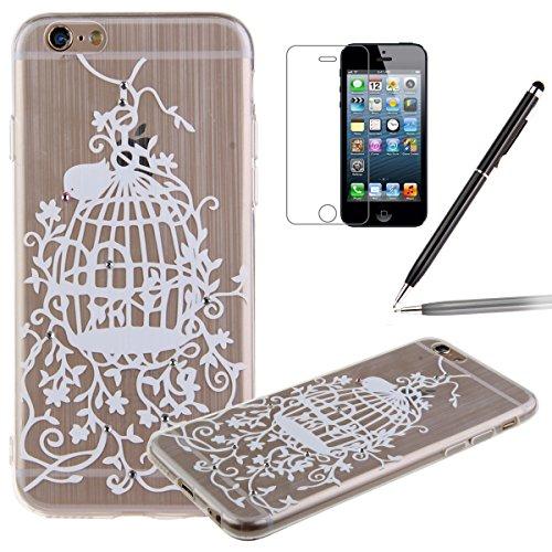 iPhone 6S Case , iPhone 6 Cover - Felfy iPhone 6 / 6S 4,7 pouces Motif mignon blanc Birdcage fleurs incrusté Shining Luxe Brillant Glitter Diamant Ultra Thin Slim souple TPU gel de silicone transparen