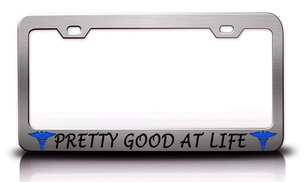 License Plate Frame Aluminum Metal License Plate Holder Humor Car Tag Frame 2 Hole and Screws