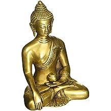 SouvNear Thai Buddha Meditating Peace Harmony Statue, [Dhyana Mudra] Religious Decor Handmade Brass Antique Look Shakyamuni Sculpture Figurine [ 6 Inch Large/Weight 2.2 Pound ]