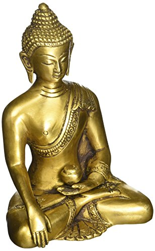 SouvNear Thai Buddha Meditating Peace Harmony Statue, [Dhyana Mudra] Religious Decor Handmade Brass Antique Look Shakyamuni Sculpture Figurine [ 6 Inch Large / Weight 2.2 Pound ]