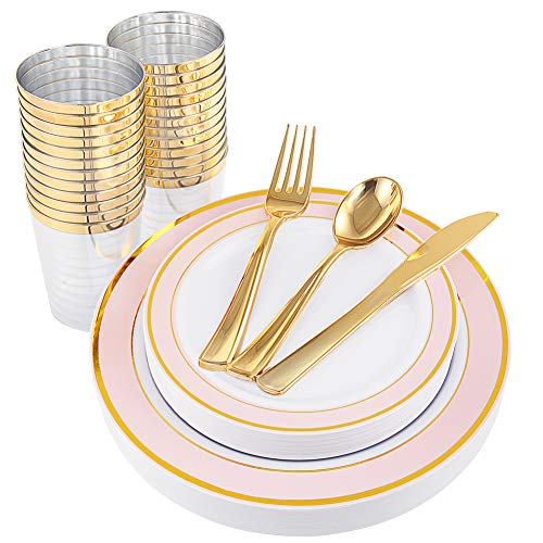 NERVURE 25 Guest Gold Plastic Plates with Gold Silverware,Disposable Cups-Include 25 Dinner Plates, 25 Dessert Plates, 25 Forks, 25 Knives, 25 Spoons & 10 oz Plastic Cups (Pink) -