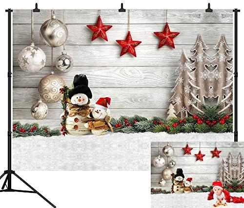 DePhoto 7X5FT(210x150CM) Christmas Theme Christmas Decoration Snowman Backdrop Seamless Vinyl Photography Photo Background Studio Prop PGT439A ()