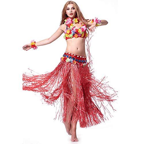Hawaiian Grass Hula Dancer Skirt Luau Party Costume Events Elastic Waist - Long-Red -