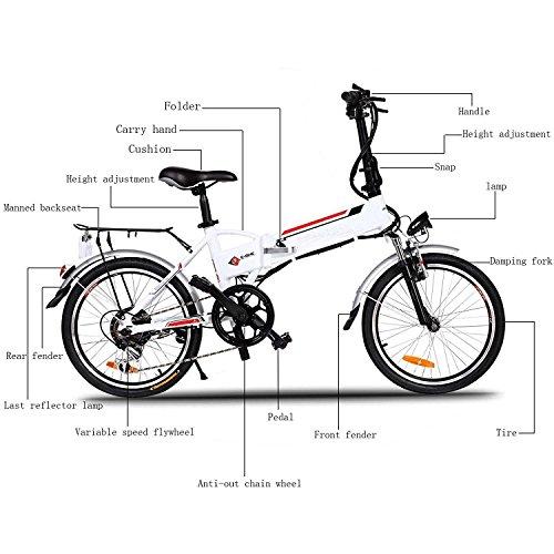 Garain 250W Aluminum Alloy Electric Folding Mountain Bike Road Cycling Bicycle
