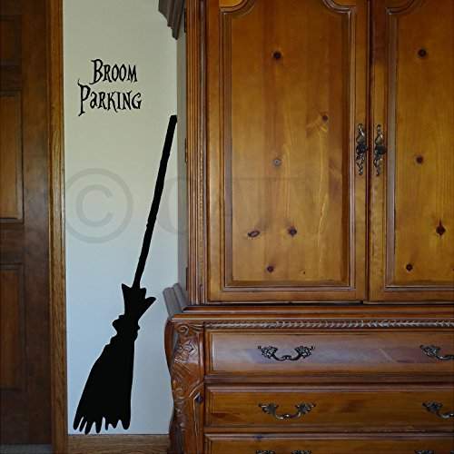 Halloween Witch Broom #2 vinyl lettering decal home decor wall art -