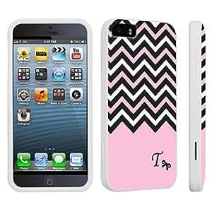 DuroCase ? Apple iPhone 5 / iPhone 5s Hard Case White - (Black Pink White Chevron T)