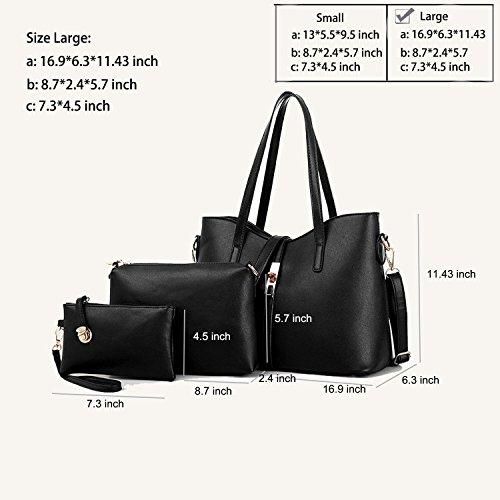 SIFINI Women Fashion PU Leather Handbag+Shoulder Bag+Purse+Card Holder 4pcs Set Tote (black) by SIFINI (Image #3)