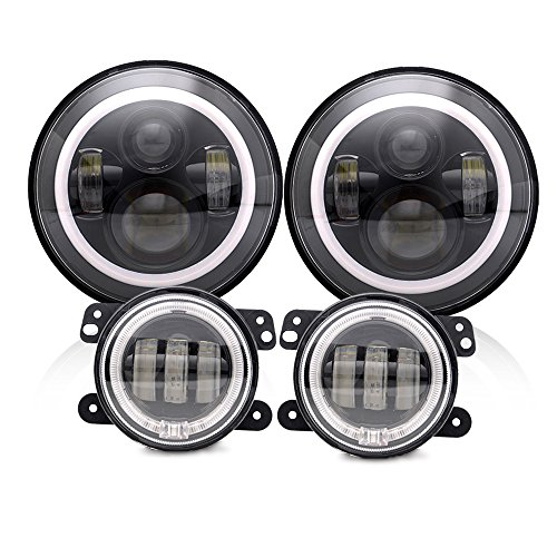 Spead Vmall 7 Inch 60W Black LED Headlights with White DRL/Amber Turn Signal + 4 inch LED Fog Lights with White DRL Halo Ring for Jeep Wrangler 07-2017 JK LJ Tj Lj JKU Unlimited ()