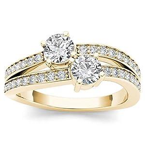 1/4 Carat TDW Round Cut Diamond DZON 14k Yellow Gold Two Stone Split Shank Engagement Ring (H I, I2)