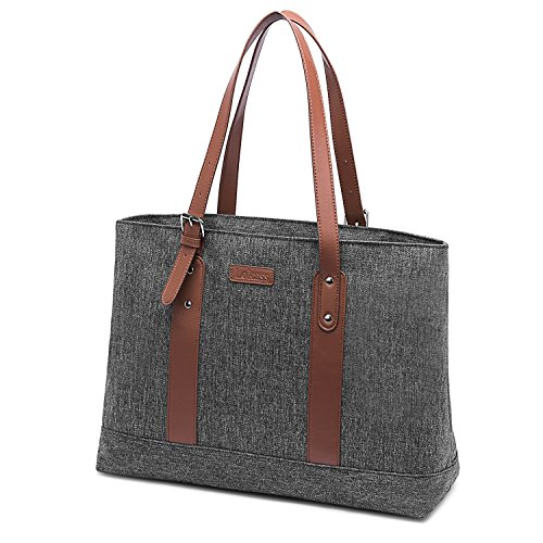 FosTak Women 15.6 inch Laptop Tote Bag Lightweight Tablet Shoulder Bag with Adjustable Straps Slim Notebook Ultrabook Briefcase for Business Work (Grey) ()