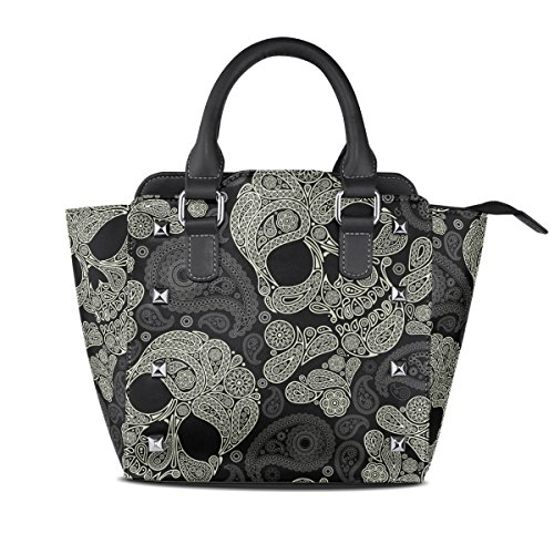 Womens Paisley Skull Leather Handbags Purses Shoulder Tote Satchel Bags