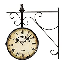 Adeco CK0003 Black Iron Vintage-Inspired Round Gard Du Nord Station Double-Sided Wall Hanging Clock with Scroll Mount Home Decor, Black, Off-White