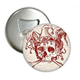 Joker Red Crown Skeleton Poker Card Pattern Round Bottle Opener Refrigerator Magnet Pins Badge Button Gift 3pcs