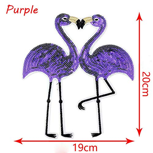 Coloful Flamingo Applique Embroidery Sequin Patches Sewing Sticker HQ (Color - Purple)