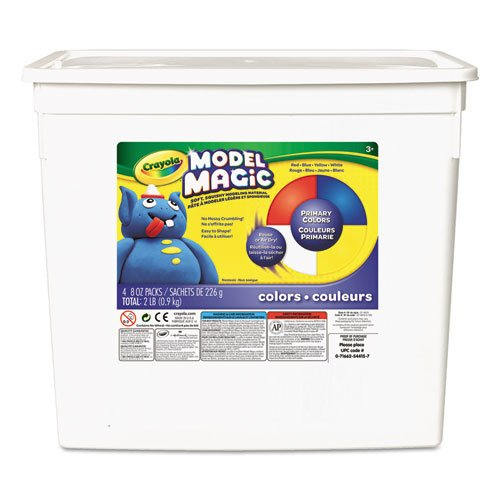Crayola; Model Magic; Primary Colors Modeling Compound; Art Tools; 2 lb. Resealable Bucket; Perfect for Classroom Art - Modeling Color