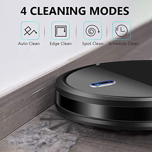 Robot Vacuum - Super Suction Robotic Vacuum Cleaner, 100mins Long Lasting, Timer Function, Self-Charging, Multiple Cleaning Modes, Amarey Robot Vacuum Cleaner for Pet Hair, Hard Floor, Carpet