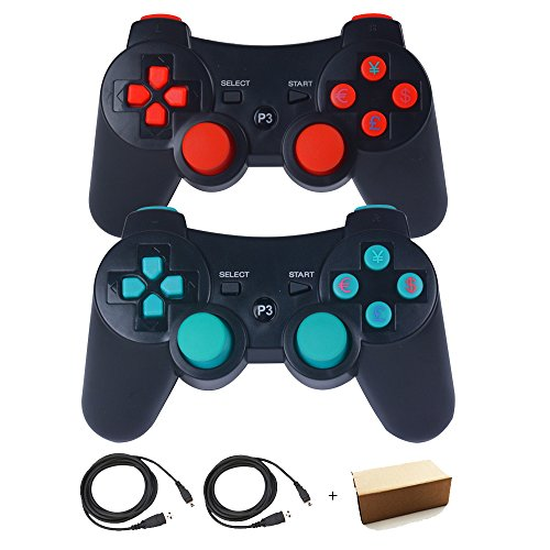 Kepisa Wireless Bluetooth Controller For PS3 Double Shock - Bundled with USB charge cord (BlackOrange and BlackBlue)