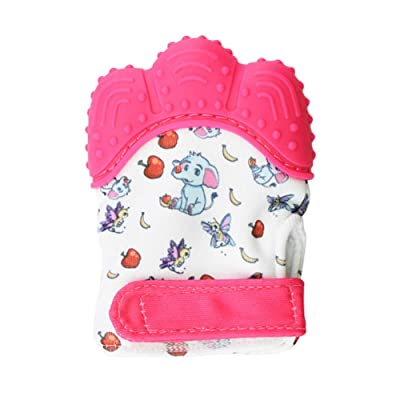 Hankyky Cartoon Cute Infant Baby Teething Mittens Baby Teething Toys or Teething Paw Molar Gloves Eat Fingers Soft Gel Chewable Nursing: Toys & Games