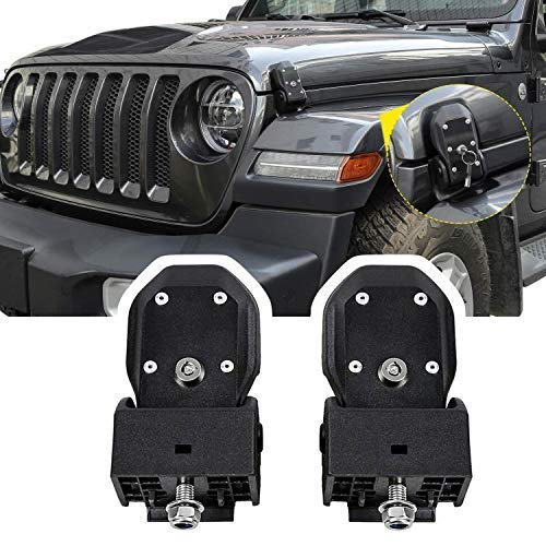 HEQIANG OEM Black Latch Locking Hood Catch Latches Kit for Jeep Wrangler JK 2007-2017 JL 2018(Installation Instruction Included)