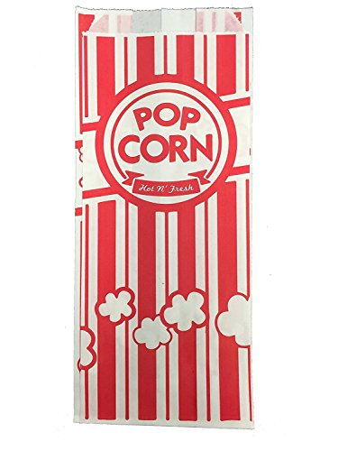 Carnival King Paper Popcorn Bags, 1 Ounce, Red and White, 100 Piece by Carnival King