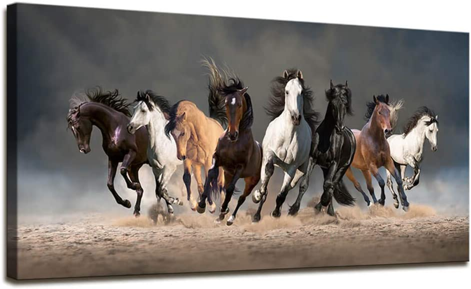 Wall Art for Bedroom Contemporary Simple Life Horse Decor Eight Running Horses Prints and Posters Canvas Paintings for Living Room Wall Decor Large Framed Artwork for Walls Home Office Decorations