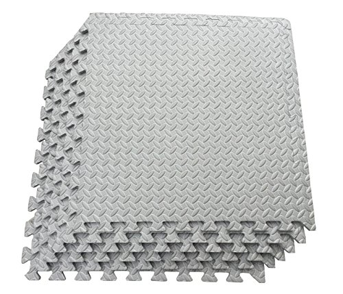 Multipurpose Anti-Fatigue Exercise Puzzle Mat Tiles - Interlocking EVA Foam Mat Tiles - 216 Sq. Ft. (Grey) by Ottomanson