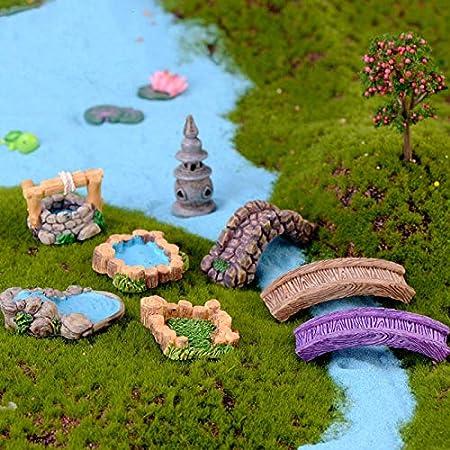 Mini Faro de Agua de Pozo Puente de Figuras en Miniatura Craft Hada Enano de jardín Musgo terrario Regalo del Ornamento del jardín Decoración: Amazon.es: Hogar