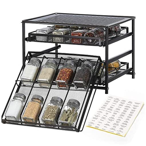 Kitchen NEX Spice Rack Organizer and 24 Glass Spice Jars/Bottles, 3 Tier 24-Bottle Metal Spice Drawer Storage Brown, 4 OZ Empty… spice racks