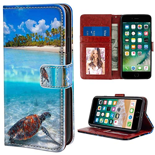 YaoLang iPhone 6/6S Plus Wallet Case, Sea Turtle Beach PU Leather Standable Wallet Phone Case with Card Holder Magnetic Hold for iPhone 6/6S Plus