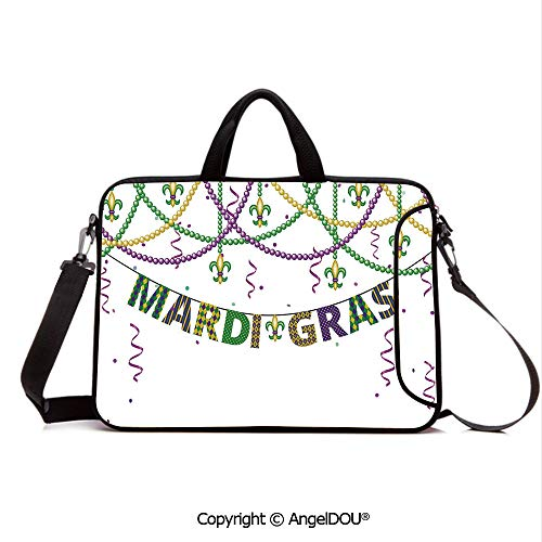 AngelDOU Customized Neoprene Printed Laptop Bag Notebook Handbag Festive Decorations with Fleur De Lis Icons Hanging from Colorful Beads Decorati Compatible with mac air mi pro/Lenovo/asus/acer P