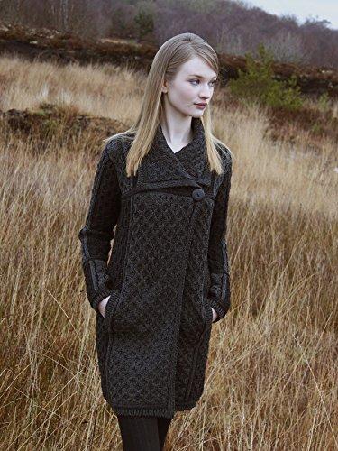 Aran Crafts 100% Merino Wool Ladies One Button Long Cardigan (Charcoal, Medium)