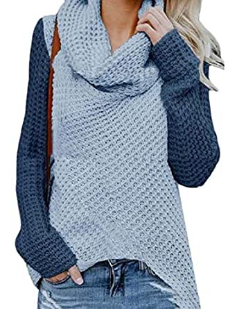 Women's Casual Patchwork Long Sleeve Pullover Sweatshit Tops Pile Collar Sweaters Blue XXS