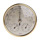 Padory Household Weather Station Barometer Thermometer Hygrometer Wall Mounted,Gold